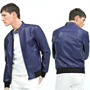 Blue Faux Leather Mens Bomber Jacket from Zara Man